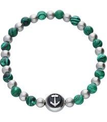 bracciale elastico pietre verdi e grigie con dettaglio ancora acciaio per uomo