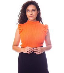 blusa moda vício trico regata com babado laranja