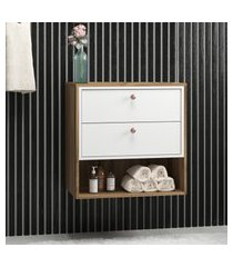 gabinete para banheiro gael 2 gavetas bosi nogal e branco