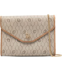 christian dior pre-owned honeycomb flap clutch - neutrals