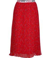tjw pleated midi skirt knälång kjol röd tommy jeans