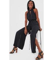 macacã£o lez a lez pantalona recortes preto - preto - feminino - viscose - dafiti