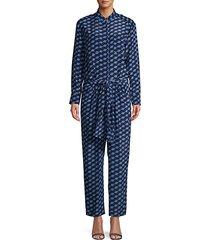 geometric-print silk jumpsuit