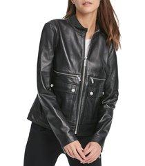 dkny women's leather moto jacket - black - size l