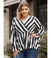 blusa cruzada a rayas con cuello en v y talla grande diseño blusa de manga larga