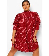 plus. gesmokte jurk met print, ruches aan de hals en pofmouwen, berry