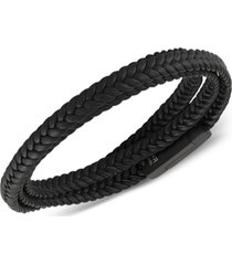 esquire men's jewelry woven black leather wrap bracelet in black ion-plated stainless steel, created for macy's