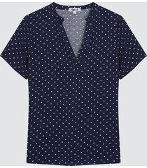blusa mujer cuello neru puntos color azul, talla l