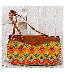 leather accent cotton shoulder bag, 'textile splendor' (guatemala)
