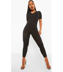 geribbelde jumpsuit met laag decolleté, black