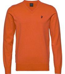 m classic v-neck stickad tröja v-krage orange peak performance