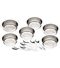 jogo de sobremesa aço inox tramontina 12 peças prata