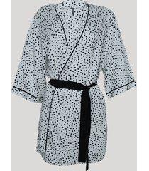 robe feminino estampado de poá manga 3/4 off white