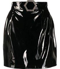 philipp plein patent mini skirt - black