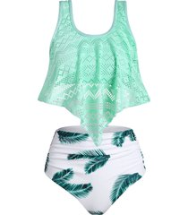 perforated leaf print ruched tankini swimsuit