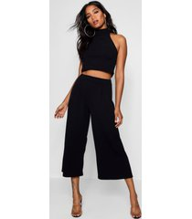 crop top met hoge hals en culottes set