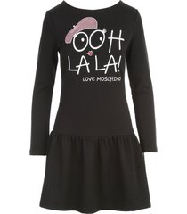 love moschino stretch knitted dress w/paillettes and written
