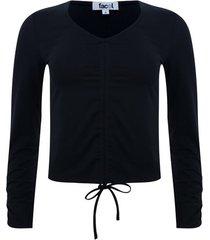 camiseta cuello v con recogido color negro, talla 8