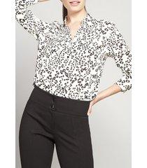 blusa estampado leopardo viscosa blanco rock liola