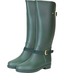 botas de lluvia impermeable eternity twin buckle bottplie - verde