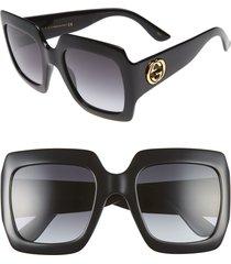 women's gucci 54mm square sunglasses - black/ grey