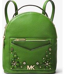 mk zaino convertibile jessa piccolo in pelle martellata decorata con motivo floreale - verde brillante (verde) - michael kors