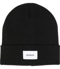 dondup fine-knit logo patch beanie - black