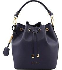 tuscany leather tl141531 vittoria - borsa secchiello da donna in pelle blu scuro