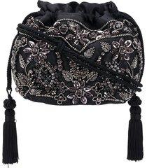 etro bead embellished tassel detail bucket bag - black