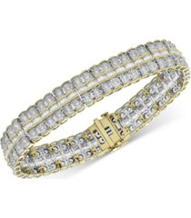 diamond double row fancy link bracelet (5 ct. t.w.) in 14k gold