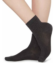 calzedonia - short ribbed socks with cotton and cashmere, 36-38, grey, women