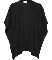 o-neck poncho poncho regnkläder svart davida cashmere