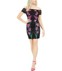 guess off-the-shoulder embroidered dress