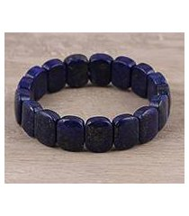 lapis lazuli beaded stretch bracelet, 'royal adornment' (india)