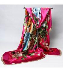 scialle con scialli a forma di scialle multifunzione a fascia quadrato in raso stampati floreali da donna 90 * 90cm