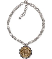 "patricia nash two-tone antique rose medallion double chain statement necklace, 21-1/4"" + 3"" extender"