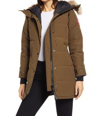 women's canada goose shelburne fusion fit genuine coyote fur trim down parka, size xx-small - green