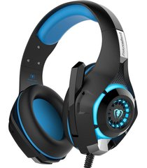 audífonos gamer, gm-1 esport gaming headset estéreo bajo auriculares auricular sobre el oído 3.5mm con micrófono led reducción de ruido de luz (negro azul)