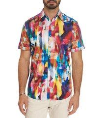 robert graham men's prism effect classic-fit short-sleeve watercolor sport shirt - red multi - size l