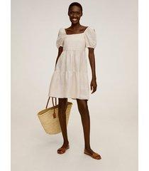 linnen jurk met ruches