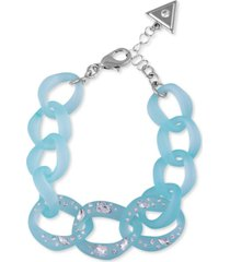guess silver-tone crystal-frosted link bracelet
