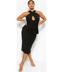 midi-jurk met uitgesneden schootje en ruches, zwart