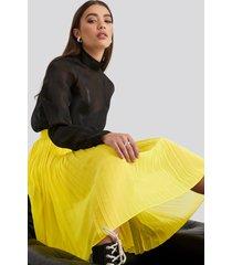 na-kd midi pleated skirt - yellow