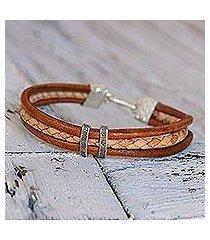 silver accent braided bracelet, 'tan textural contrast' (thailand)