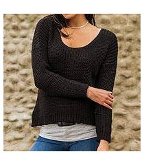 alpaca blend sweater, 'nazca night' (peru)