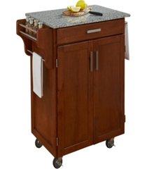 home styles cuisine cart warm oak finish salt and pepper granite top
