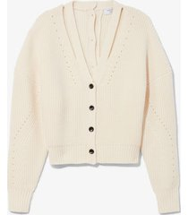 proenza schouler white label knit cardigan with button back ivory/neutrals l