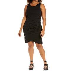 plus size women's treasure & bond ruched sleeveless jersey dress, size 3x - black