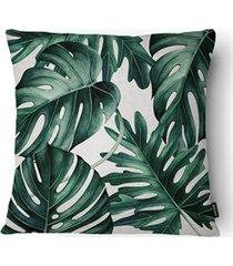 almofada decorativa realce 082 40x40cm bege e verde
