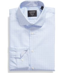 men's big & tall nordstrom trim fit non-iron windowpane dress shirt, size 18 - blue